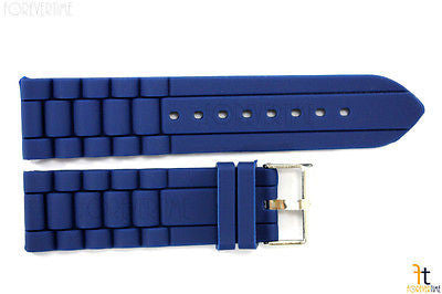 20mm Fits Fossil Navy Blue Silicon Rubber Watch BAND Strap - Forevertime77