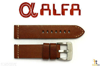 ALFA 24mm Genuine Brown Smooth Leather Watch Band Strap Anti-Allergic Heavy Duty - Forevertime77