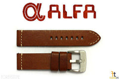 ALFA 24mm Genuine Brown Smooth Leather Watch Band Strap Anti-Allergic Heavy Duty