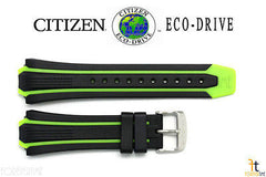 Citizen 59-S52813 Original Replacement Black/Green Rubber Watch Band Strap 59-S52501