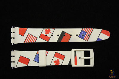 17mm  Country Flags Soft PVC Replacement White Watch Band Strap fit SWATCH watch - Forevertime77