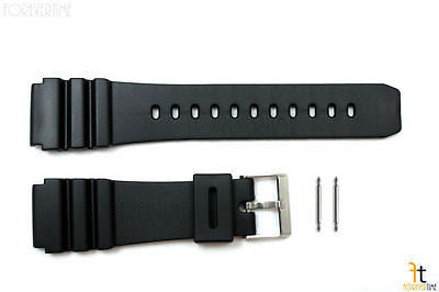 22mm Fits CASIO Black PVC Watch BAND Strap AMW-320D AMW-320C AD520 w/ 2 PINS - Forevertime77