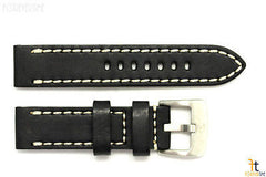 24mm Black Smooth Leather Watch Band Strap w/Stitches Fits Luminox Anti-Allergic