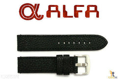 ALFA 22mm Black Genuine Textured Leather Watch Band Anti-Allergic BLK Stitching