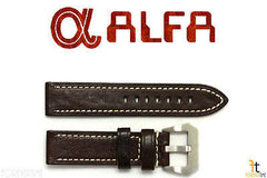ALFA 26mm Dark Brown Genuine Textured Leather Watch Band Strap Anti-Allergic