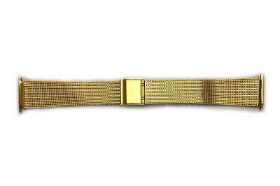16 - 22mm Stainless Steel Metal (Gold Tone) Adjustable Mesh Watch Band Strap - Forevertime77