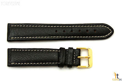 20mm Genuine Black Leather Watch Band Strap Gold Tone Buckle for Heavy Watches - Forevertime77