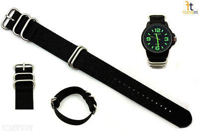24mm Fits Luminox Nylon Woven Black Watch Band Strap 4 Stainless Steel Rings - Forevertime77