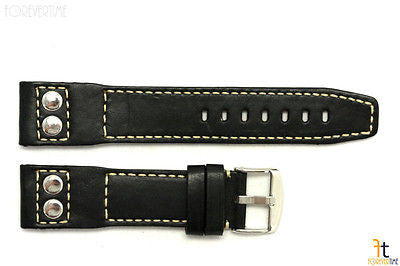 24mm Black Smooth Leather RIVET Watch Band Strap Fits Luminox Anti-Allergic - Forevertime77