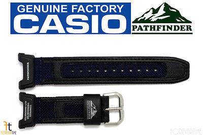 CASIO Pathfinder PAG-240B-2 Original 23mm Black w/ Blue Leather/Nylon Watch BAND - Forevertime77