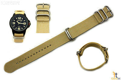 20mm Fits Luminox Nylon Woven Beige Watch Band Strap 4 Stainless Steel Rings - Forevertime77