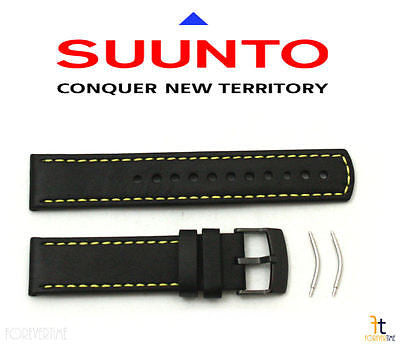 Suunto Elementum Original Black / Yellow Leather Watch Band Strap Kit w/ 2 Pins - Forevertime77