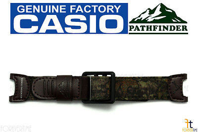 CASIO Pathfinder PAS-410B-5V Original Brown Cloth / Leather Watch BAND Strap - Forevertime77