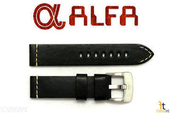ALFA 24mm Black Smooth Genuine Leather Watch Band Strap Anti-Allergic Heavy Duty