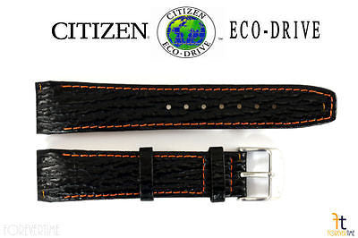 Citizen 59-S51018 Original Replacement 21mm Black Leather Watch Band Strap - Forevertime77