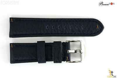 Bandenba 24mm Genuine Blue Textured Leather Panerai Stitched Watch Band Strap - Forevertime77