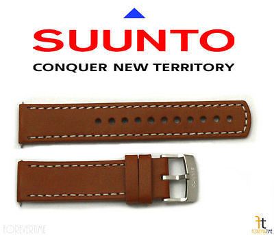 Suunto Elementum Original Brown Leather Watch Band Strap Kit w/ 2 Pins - Forevertime77