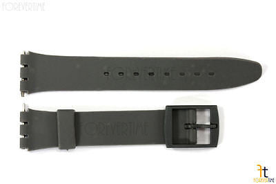 17mm  Dark Gray Soft PVC Replacement  Band Strap fits SWATCH watches w/ 2 Pins - Forevertime77