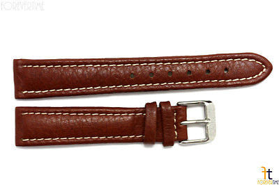 18mm Genuine Brown Leather Watch Band Strap Silver Tone Buckle for Heavy Watches - Forevertime77