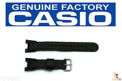 CASIO SGW-100B Original Green / Black Nylon-Leather Watch BAND Strap Twin Sensor - Forevertime77