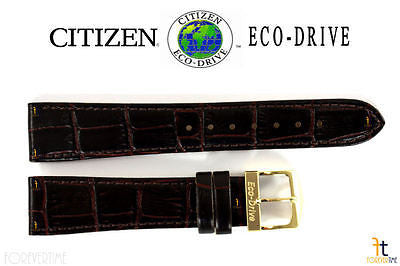 Citizen 59-S51091 Original Replacement 19mm Brown Leather Watch Band Strap - Forevertime77