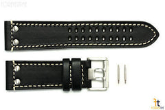 Luminox 1828 1848 Field 23mm Black Leather Watch Band Strap w/ 2 Pins