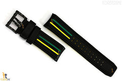 Luminox 1148 Tony Kanaan 26mm Black Leather  w/ Green & Yellow Watch Band Strap