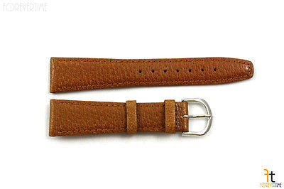 20mm Genuine Tan Pigskin Leather Stitched Watch Band Strap Silver Tone Buckle - Forevertime77