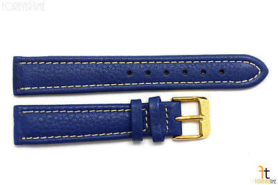 18mm Genuine Blue Leather Watch Band Strap Gold Tone Buckle for Heavy Watches - Forevertime77