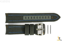 Luminox 5121 SXC GMT 24mm Grey Cordura Leather Watch Band Blue Stitches w/2Pins