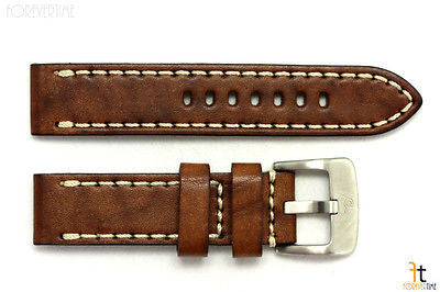 22mm Brown Smooth Leather Watch Band Strap w/Stitches Fits Luminox Anti-Allergic - Forevertime77