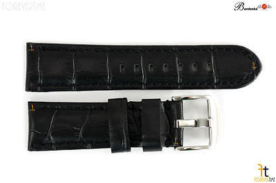 Bandenba 24mm Genuine Black Crocodile Grain Leather Stitched Watch Band Strap - Forevertime77
