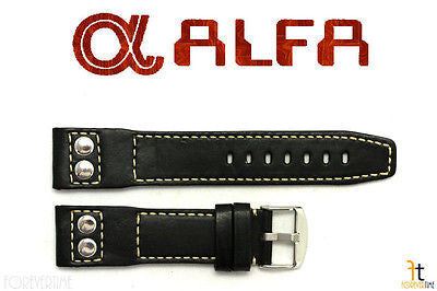 ALFA 24mm Black Genuine Smooth Leather RIVET Watch Band Strap Anti-Allergic - Forevertime77