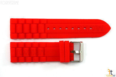 24mm Fits Fossil Red Silicon Rubber Watch BAND Strap - Forevertime77