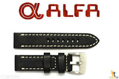ALFA 22mm Black Smooth Genuine Leather Watch Band Strap Anti-Allergic w/Stitches