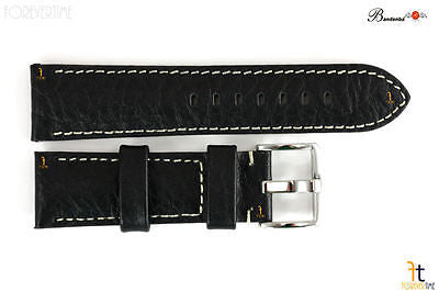 Bandenba 22mm Genuine Black Textured Leather Panerai White Stitched Watch Band - Forevertime77