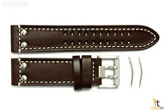 Luminox 1827 Field 23mm Brown Leather Watch Band Strap w/ 2 Pins 1847