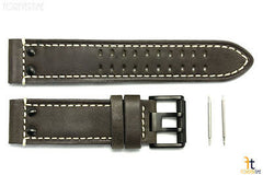 Luminox 1837 Field 23mm Brown Leather Watch Band Strap w/ Black Buckle