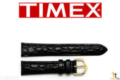 TIMEX Q7B855 Original 18mm Black Croco Grain Leather Watch Band Strap w/ 2Pins
