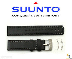 Suunto Elementum Original Black Leather Watch Band Strap Kit w/ 2 Pins