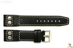 22mm Black Smooth Leather RIVET Watch Band Strap Fits Luminox Anti-Allergic