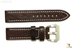 24mm Dark Brown Textured Leather Watch Band Strap Fits Luminox Anti-Allergic