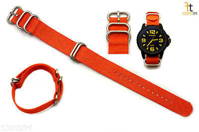 20mm Fits Luminox Nylon Woven Orange Watch Band Strap 4 Stainless Steel Rings - Forevertime77