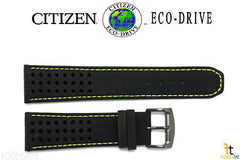 Citizen 59-S52632 Original Replacement 23mm Black Leather Watch Band w/ Green Stitching