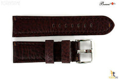 Bandenba 24mm Genuine Dark Brown Textured Leather Panerai Stitched Watch Band