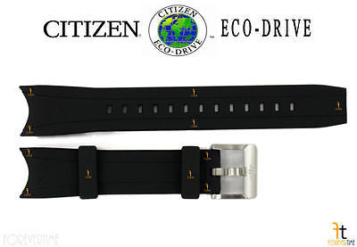 Citizen 59-S53296 Original Replacement 22mm Black Rubber Watch Band 59-S51986 59-S51866 - Forevertime77