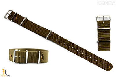 22mm Heavy Duty High End Khaki Woven Watch Band Strap 3 Loops - Forevertime77