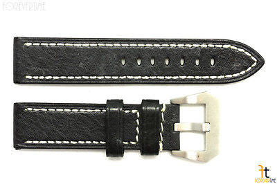 24mm Black Genuine Textured Leather Watch Band Strap Anti-Allergic - Forevertime77