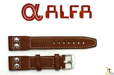 ALFA 24mm Genuine Brown Smooth Leather RIVET Watch Band Strap Anti-Allergic - Forevertime77
