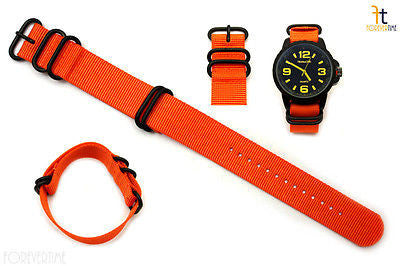 24mm Fits Luminox Nylon Woven Orange Watch Band Strap 4 Black S/S Rings - Forevertime77